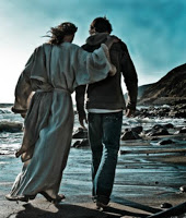 walking with Jesus on Beach